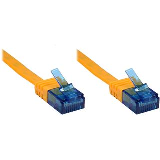 3.00m Good Connections Cat. 6a Patchkabel flach U/UTP RJ45 Stecker auf RJ45 Stecker Orange vergoldet