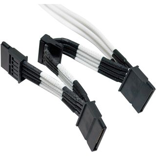 Molex zu 4x SATA Adapter 20cm, black HSG - sleeved white