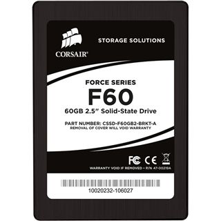 "60GB Corsair Force Series 2.5"" (6.4cm) SATA 3Gb/s MLC asynchron (CSSD-F60GB2-BRKT-A)"