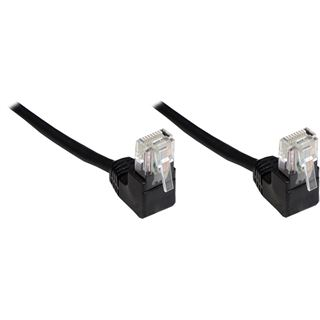 (€0,46*/1m) 15.00m Good Connections Cat. 5e Patchkabel U/UTP RJ45 Stecker auf RJ45 Stecker Schwarz 90° gewinkelt