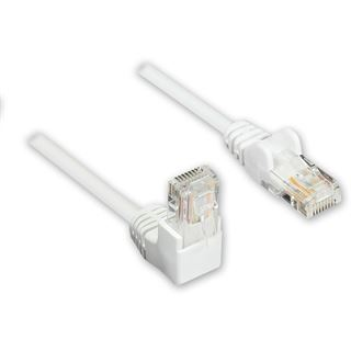 (€3,90*/1m) 1.00m Good Connections Cat. 5e Patchkabel U/UTP RJ45 Stecker auf RJ45 Stecker Weiß 90° gewinkelt
