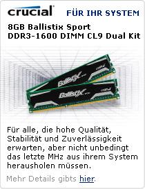 8GB Crucial Ballistix Sport DDR3-1600 DIMM CL9 Dual Kit
