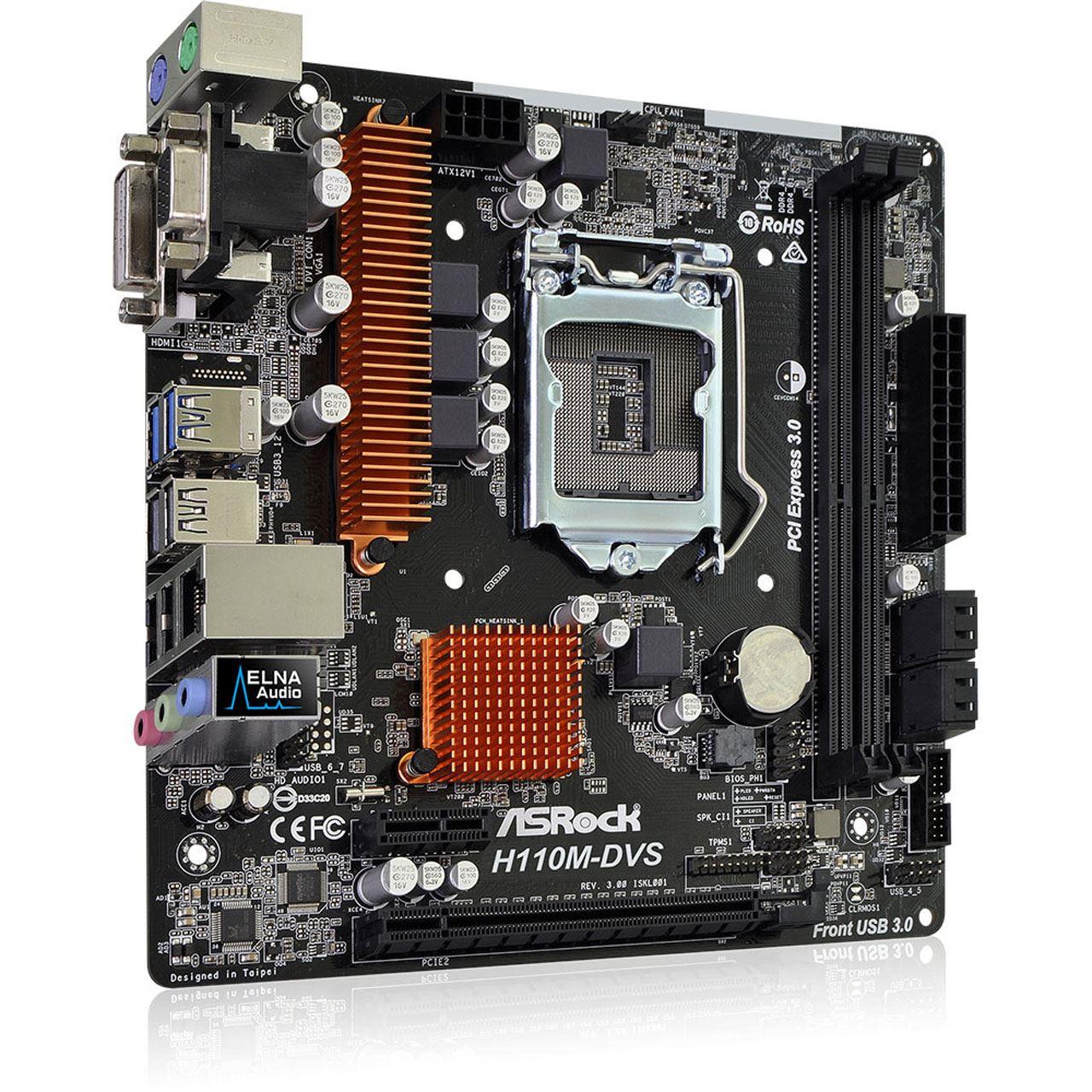 ASRock H110M-DVS R3.0 Intel H110 So.1151 Dual Channel DDR4 ...