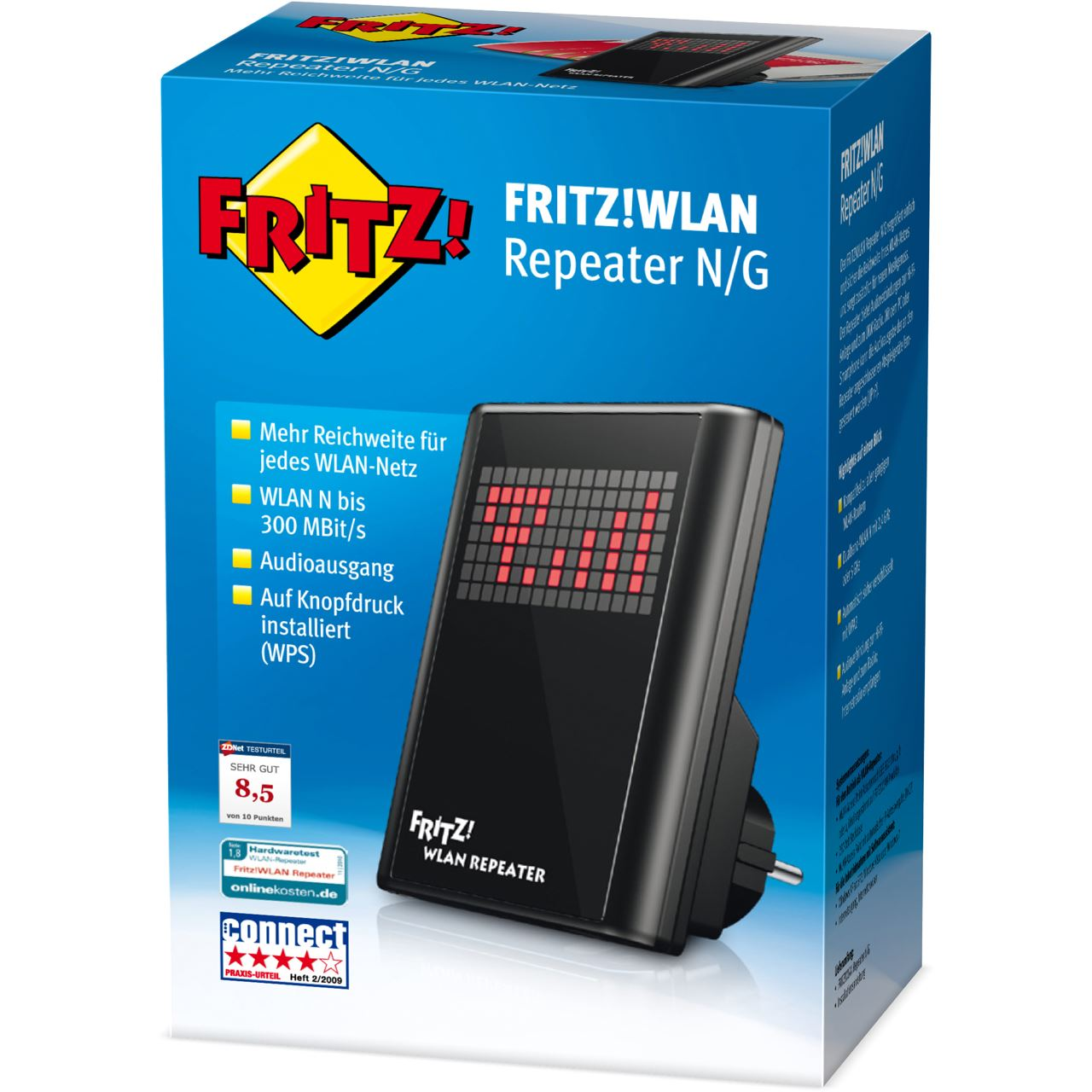 avm fritz wlan repeater n g wlan 300mbit s repeater konverter hardware notebooks software. Black Bedroom Furniture Sets. Home Design Ideas