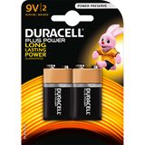 Duracell Plus Power 6LR61 Alkaline E Block Batterie 9.0 V 2er Pack
