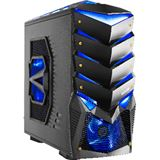 Delux SH891 Midi Tower ohne Netzteil schwarz/blau