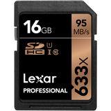 16 GB Lexar Professional SDHC 633x Class 10 U3 Retail