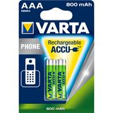 Varta Phone HA10 Nickel-Metall-Hydrid AAA Micro Akku 800 mAh 2er Pack