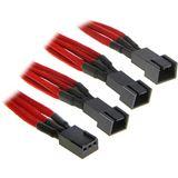 BitFenix 3-Pin zu 3x 3-Pin Adapter 60cm - sleeved rot/schwarz