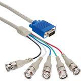 (€9,95*/1m) 1.00m InLine BNC Anschlusskabel VGA 15pol Stecker auf 5xBNC Stecker Schwarz
