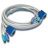 (€2,98*/1m) 3.00m Trendnet KVM Anschlusskabel VGA 15pol Stecker + 2xPS2 Stecker auf VGA 15pol Stecker + 2xPS2 Stecker Grau