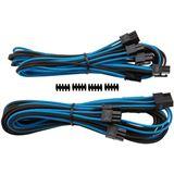 Corsair Premium Sleeved PCIe Dual-Kabel Doppelpack blau/schwarz