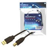 MediaRange USB Kabel A -> B St/St 1.80m sw