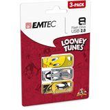 8 GB EMTEC Looney Tunes 3er-Pack verschiedene Farben USB 2.0