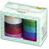 "folia Deko-Klebeband ""Glitter Tape"", 10-farbig sortiert"
