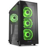 Sharkoon TG5 LED grün mit Sichtfenster Midi Tower ohne Netzteil