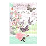 "SUSY CARD Geburtstagskarte ""Rosen-Schmetterling"""