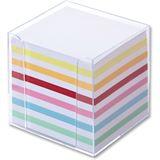 folia Zettelbox, Kunststoff, glasklar, Füllung: weiß/farbig