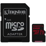 64 GB Kingston Canvas React microSDXC UHS-I A1 V30 Retail inkl.
