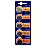 SONY Batterie Lithium, Knopfzelle, CR1620, 3V Retail Blister (5-Pack)