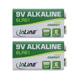 InLine Alkaline High Energy Batterie, 9V Block 6LR61, 2er Blister