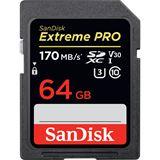 64GB SanDisk SDXC Card Extreme Pro 170/90 V30 UHS-I U3
