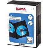 Hama 10er Pack schwarze DVD-Slim-Doppel- Leerhülle für Aufbewahrung (00051184)