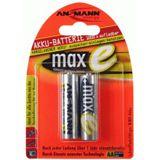 ANSMANN maxE HR6 Nickel-Metall-Hydrid AA Mignon Akku 2100 mAh 2er Pack