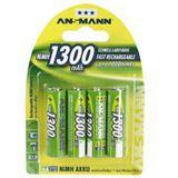 ANSMANN Akkus AA / Mignon Nickel-Metall-Hydrid 1300 mAh 4er Pack