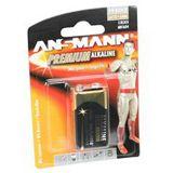 ANSMANN Alkaline Premium Batterie, 9 Volt Block (E), 1er Pack