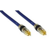 (€2,18*/1m) 5.00m InLine Audio/Video Anschlusskabel Premium-Line Cinch Stecker auf Cinch Stecker Blau vergoldet