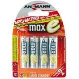 ANSMANN maxE HR6 Nickel-Metall-Hydrid AA Mignon Akku 2100 mAh 4er Pack