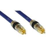 (€1,99*/1m) 5.00m InLine Audio Anschlusskabel Premium-Line Cinch Stecker auf Cinch Stecker Blau vergoldet