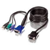 1.80m Equip KVM Anschlusskabel VGA 15pol Stecker + 2xPS2 Stecker + USB A Stecker auf VGA 15pol Stecker Schwarz