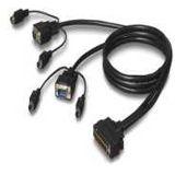 3.00m Belkin KVM Anschlusskabel OmniView 25pol Stecker auf 2xVGA 15pol stecker + 2x PS2 Stecker Schwarz