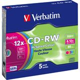 Verbatim CD-RW 700 MB Colours 5er Slimcase (43167)