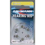 ANSMANN Hearing Aid PR70 Zink-Luft Knopfzellen Batterie 1.4 V 6er Pack