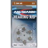 ANSMANN Hearing Aid PR41 Zink-Luft Knopfzellen Batterie 1.4 V 6er Pack
