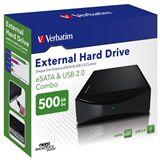 """HDE 500GB Verbatim External Hard Drive 3.5"""" (8.89cm) Schwarz"""