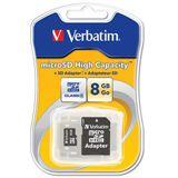 8 GB Verbatim Standard microSDHC Class 4 Retail inkl. Adapter