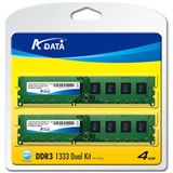4GB ADATA Value DDR3-1333 DIMM CL9 Dual Kit