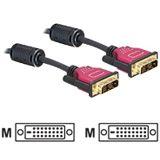 (€5,98*/1m) 2.00m Delock DVI-D Anschlusskabel DVI 24+1 Stecker auf DVI 24+1 Stecker Schwarz/Rot Ferritkern