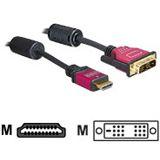 (€3,63*/1m) 3.00m Delock HDMI Adapterkabel HDMI-Stecker auf DVI 18+1 Buchse Schwarz/Rot