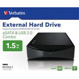 """HDE 1500GB Verbatim External Hard Drive 3.5"""" (8.89cm) Schwarz"""