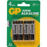 GP Batteries Super LR6 Alkaline AA Mignon Batterie 1.5 V 4er Pack