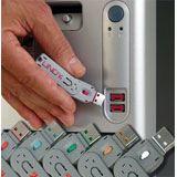 Lindy USB Port Schloss mit Schlüssel: Blau