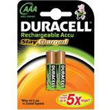 Duracell Stay Charged HR03 Nickel-Metall-Hydrid AAA Micro Akku 850 mAh 2er Pack