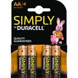 Duracell Simply LR6 Alkaline AA Mignon Batterie 1.5 V 4er Pack