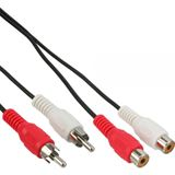 (€0,49*/1m) 10.00m InLine Audio Verlängerungskabel 2xCinch Stecker auf 2xCinch Buchse Schwarz
