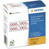 Herma 4886 rot selbstklebend doppelt Nummernetiketten 1x2.2 cm (2000 Stück (000-999))